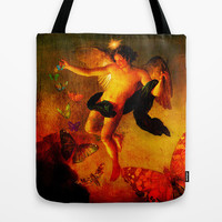 The angel sower of butterflies Tote Bag by Ganech joe