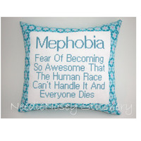 Cross Stitch Pillow Funny Quote Turquoise and Pink by NeedleNosey