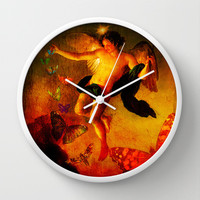 The angel sower of butterflies Wall Clock by Ganech joe