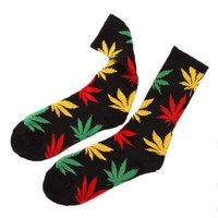 Field For You One Pair New Plantlife Marijuana Weed Leaf Cotton High Socks Men/women Bjf25 (Black Yellow Green Red Leaf Bjf25-j-11)