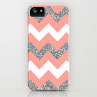coral glitter chevron iPhone & iPod Case by Hannah