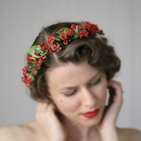 "Flower Crown, Rustic Floral Wreath, Red Woodland Headpiece, Natural Twine Ribbon Tie Back, Rosebud Vintage - ""Sweetly Sings the Meadowlark"""
