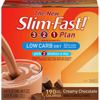 Slim-Fast Shake 3-2-1 Low Carb Creamy Chocolate, 4ct