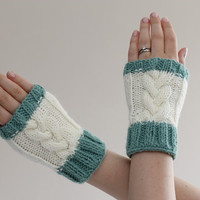 Cable Knit Wrist Warmers Cream with Mint Green trim by LumiStyle
