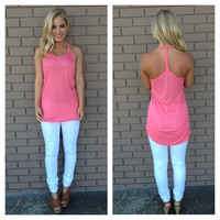 Pink Braided T-Back Tank