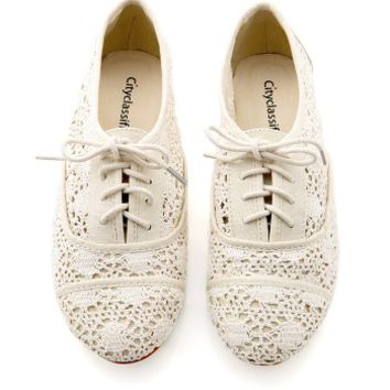 Crochet Oxford Flats - Trendy Shoes at Pinkice.com