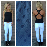 Black Net Open Back Peplum Tank