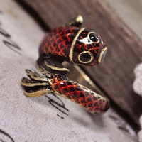 Lovely litter fish punk ringcan't adjustable by looklylucky