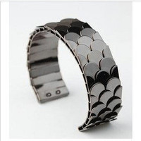 Fashion black fish scale punk bracelet by looklylucky on Etsy