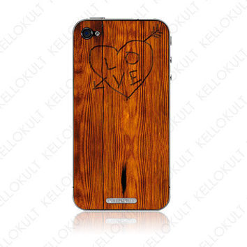 iPhone 4 Skin Etch on Wood by kellokult on Etsy