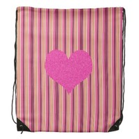 Candy-striped, Pink Glitter Heart Backpack