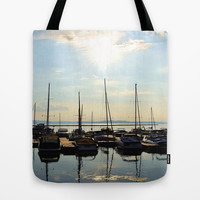calm sailboats at sea  Tote Bag by Sari Klein