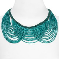 Aqua Beaded Layered Bib Necklace, 18"