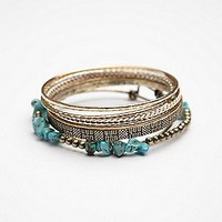 Free People Womens Stone Cluster Hard Bangle -