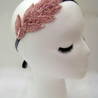 Pink goddess headband, pink leaves headband, nature inspired hair, pink prom headband, Grecian headpiece, Lady Mary headband
