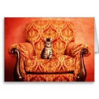 Cute Kitten Sitting on A Big Chair Greeting Card