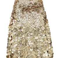 Viscose Crepe Skirt With Textured Gold Paillettes by MSGM - Moda Operandi