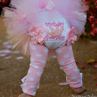 First Birthday Bloomers -- Precious Princess -- Birthday Princess bloomers with soft, minky crown and light pink ruffle bows