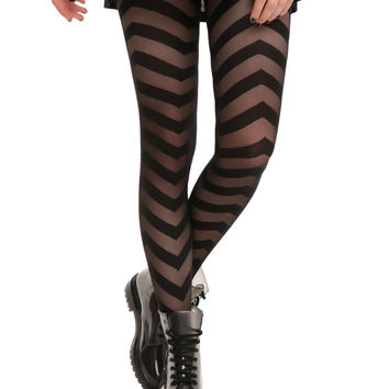 LOVEsick Black Chevron Tights