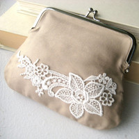 Bridesmaid Clutch purse lace shabby chic by littlewhitechapel