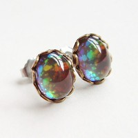 Tiny Rainbow Galaxy Glitter Earrings Vintage Domed Glass Cabochon | EcoRetroBling - Jewelry on ArtFire
