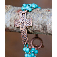 West and Co. Women's Hammered Copper Cross and Turqoise Bead Toggle Bracelet
