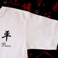PEACE Tshirt - silk screened Chinese ' Ping' symbol for PEACE...