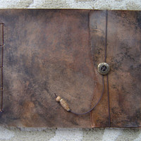 Large Leather Artist's Sketchbook Old World by ZenfishLeather