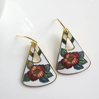 Oriental Modern Geometry Style Earrings. Lovely Blossom on White and Gold Ear Accessory. Gift For Her, For Mother, For Best friend