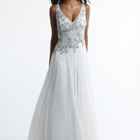 Dave & Johnny 10138 Beaded V-Neck Gown