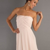A-line Strapless Ruffles Sleeveless Short Mini Chiffon Cocktail Dresses - Basadress.com