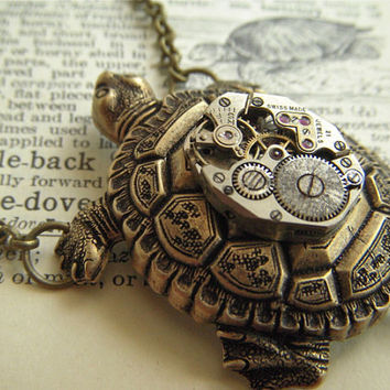 Steampunk Necklace Turtle Vintage Watch Movement by CosmicFirefly