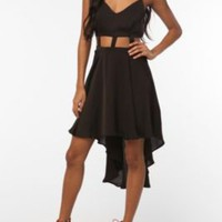 Reverse Lattice Waist High/Low Dress