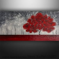 Abstract Painting Art Original Landscape Trees by Gabriela 48x24 Large