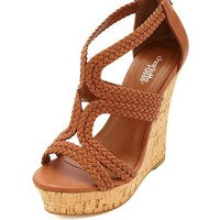 Strappy Braided Platform Wedge Sandals by Charlotte Russe - Cognac