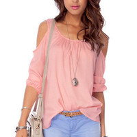 Breezy Cold Shoulder Blouse in Blush :: tobi