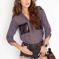 Lace Pocket Blouse in  Clothes Tops Shirts + Blouses at Nasty Gal
