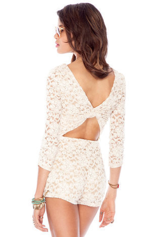 Hypknotic Laced Romper in Cream :: tobi