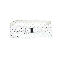 White Black Retro Polka Dot Wide Bow Headband Black Pleather Center