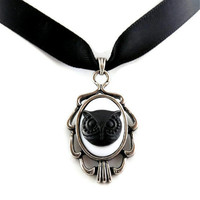 Black Owl Cameo Pendant with Satin Choker Necklace  by Arthlin