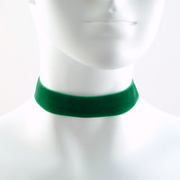 Green Velvet Choker Necklace Simple Plain Basic  7/8'' by Arthlin