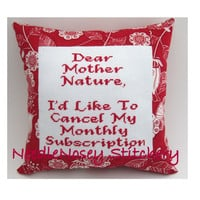 Cross Stitch Pillow Funny Quote Red Pillow Mother by NeedleNosey