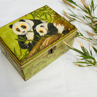 Panda Decoupage Box Asian Chest Keepsake Box  by BeauMiracle