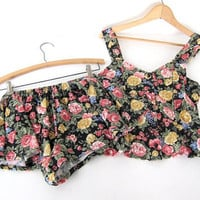 90s VICTORIA'S SECRET Floral Tank Top and Shorts. 2 piece matching sleepwear set