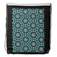 Turquoise & Black Starflower Backpack by KCS