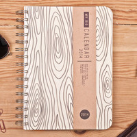 2014 Weekly Planner Calendar Diary Day Journal A5 Wood Light Agenda Day Planner - Great Valentine's Day Gift Idea For Him