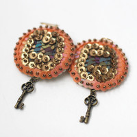 Bronze Key Earrings - Coral Gold Chocolate Sequin - Mystic vintage style jewelry