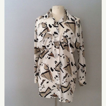 On Sale Slouchy oversized button up / vintage abstract print top / print blouse