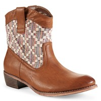 Color Mix Crochet Western Bootie