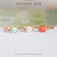 Mint, Moonstone or Pink Coral Ring, Brass Ring, wire wrapped ring, wire wrapped jewelry handmade, unique rings, custom ring, moonstone ring